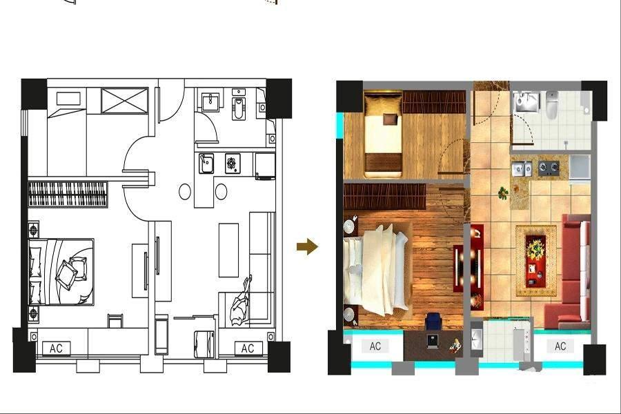 一期1号楼标准层57平户型