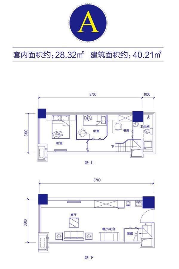 富邦金玖一期loft公寓标准层A户型