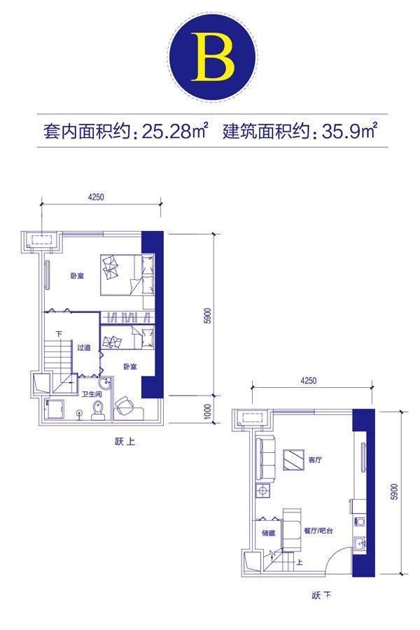 富邦金玖一期loft公寓标准层B户型