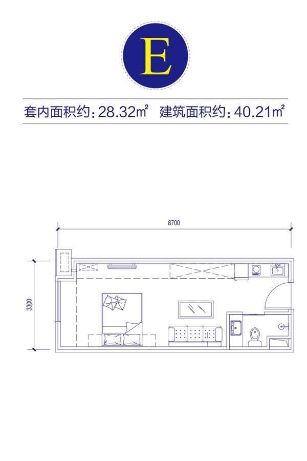 富邦金玖一期SOHO公寓标准层E户型