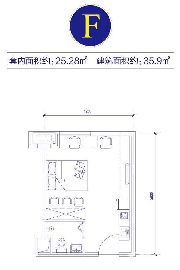 富邦金玖一期SOHO公寓标准层F户型