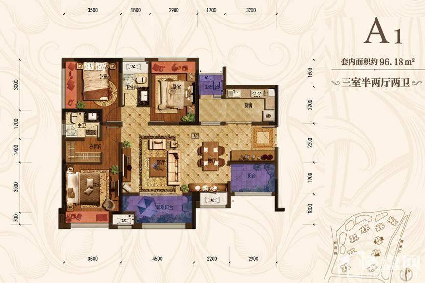 首创城一期3/4号楼标准层A1户
