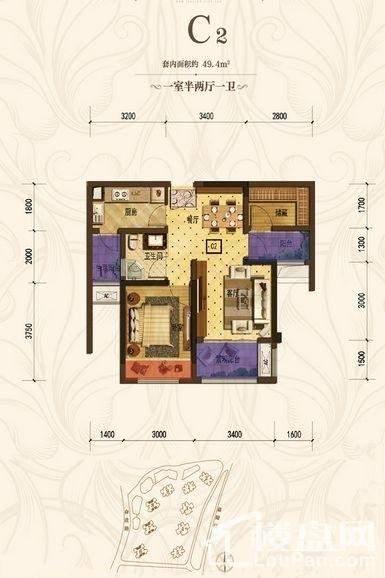 首创城一期6/7/8号楼标准层C2户型