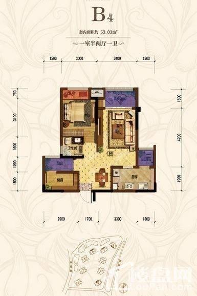 首创城 一期1、2、5、9号楼标准层B4户型