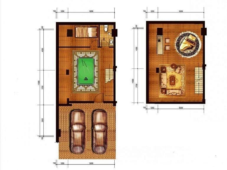 一期联排别墅D户型地下一、二层