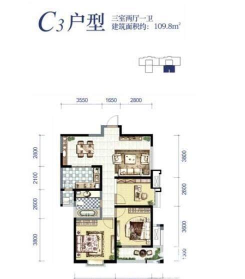 贰号大院15号楼C3户型