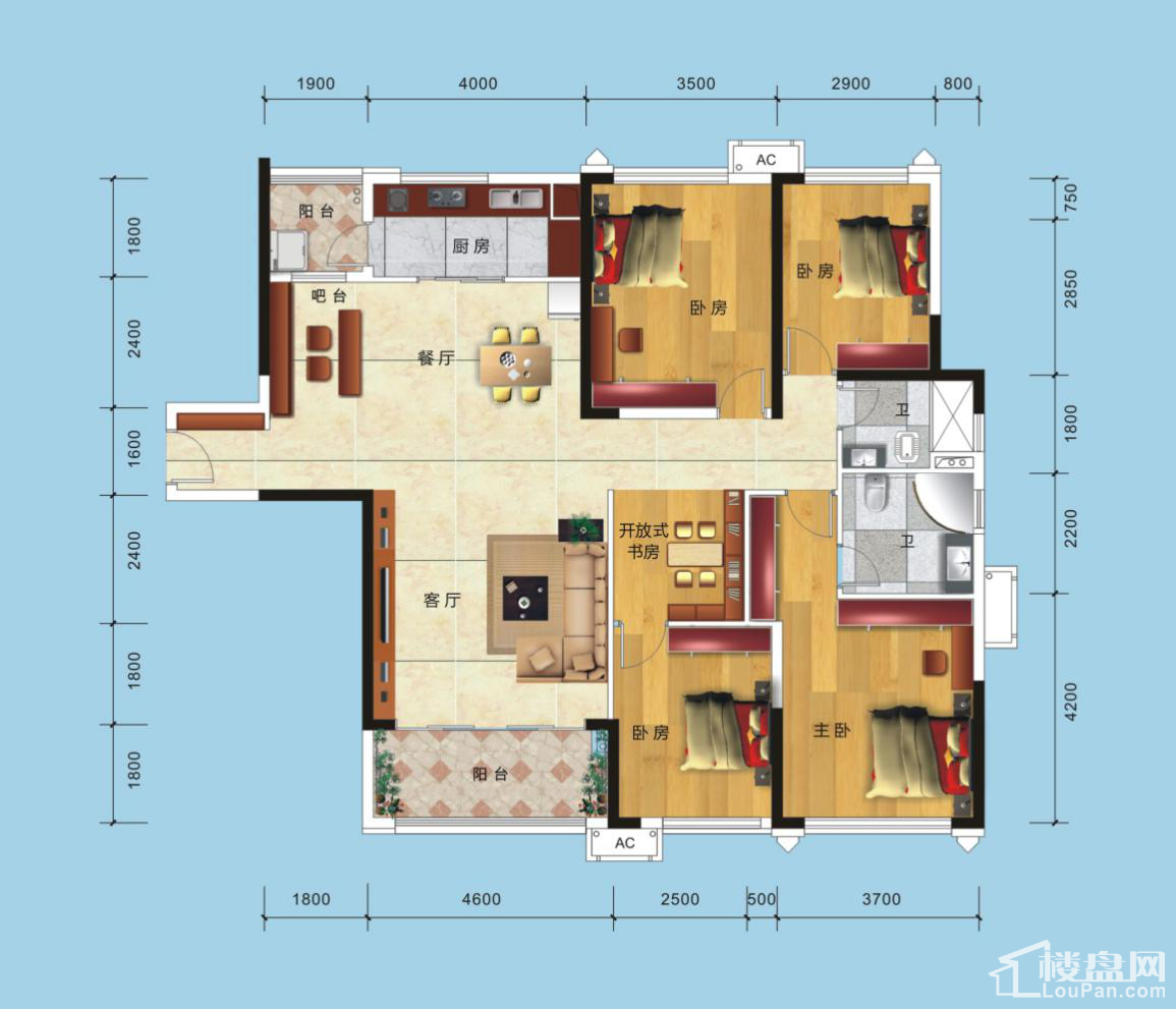 1号楼1单元2号房户型