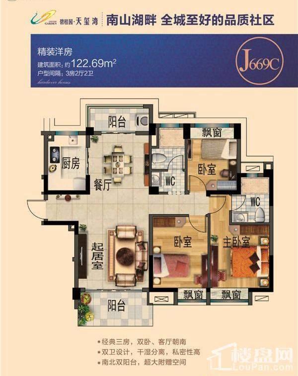 碧桂园天玺湾洋房J669C户型