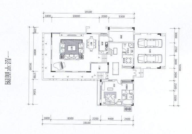 联排A1户型一层平面