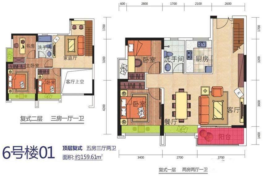 6号楼01顶层复式户型图