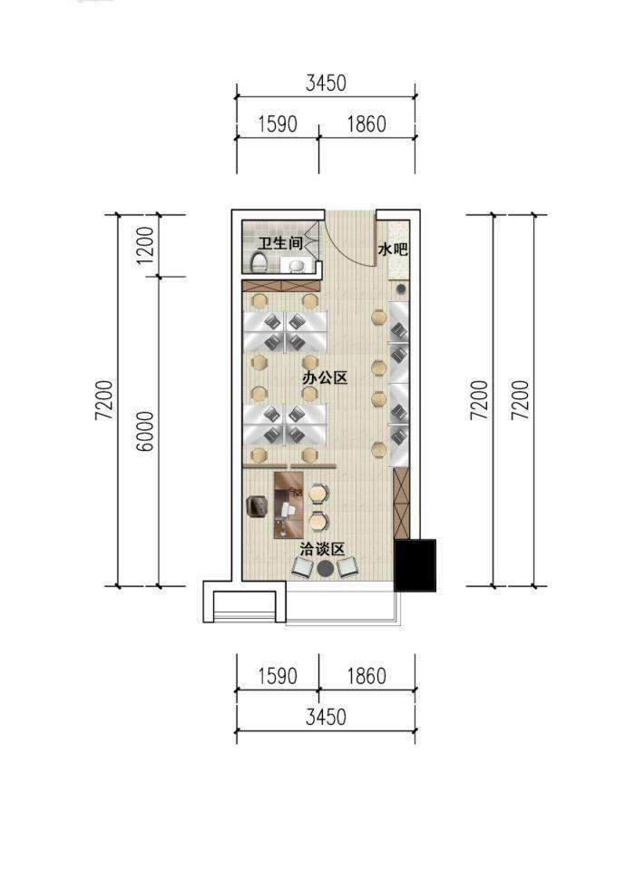 1#楼单间办公间装修建议图