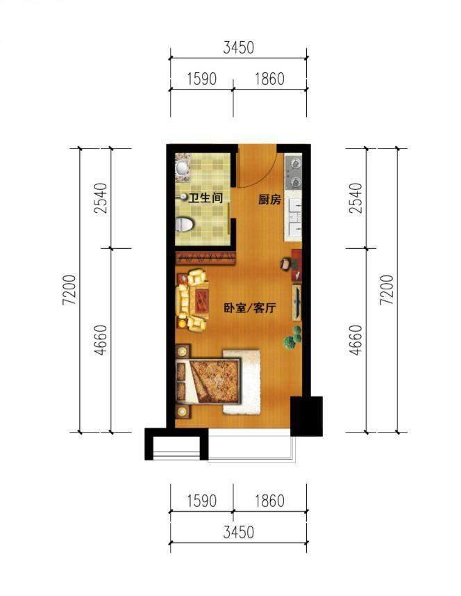 1#楼单间公寓装修建议图