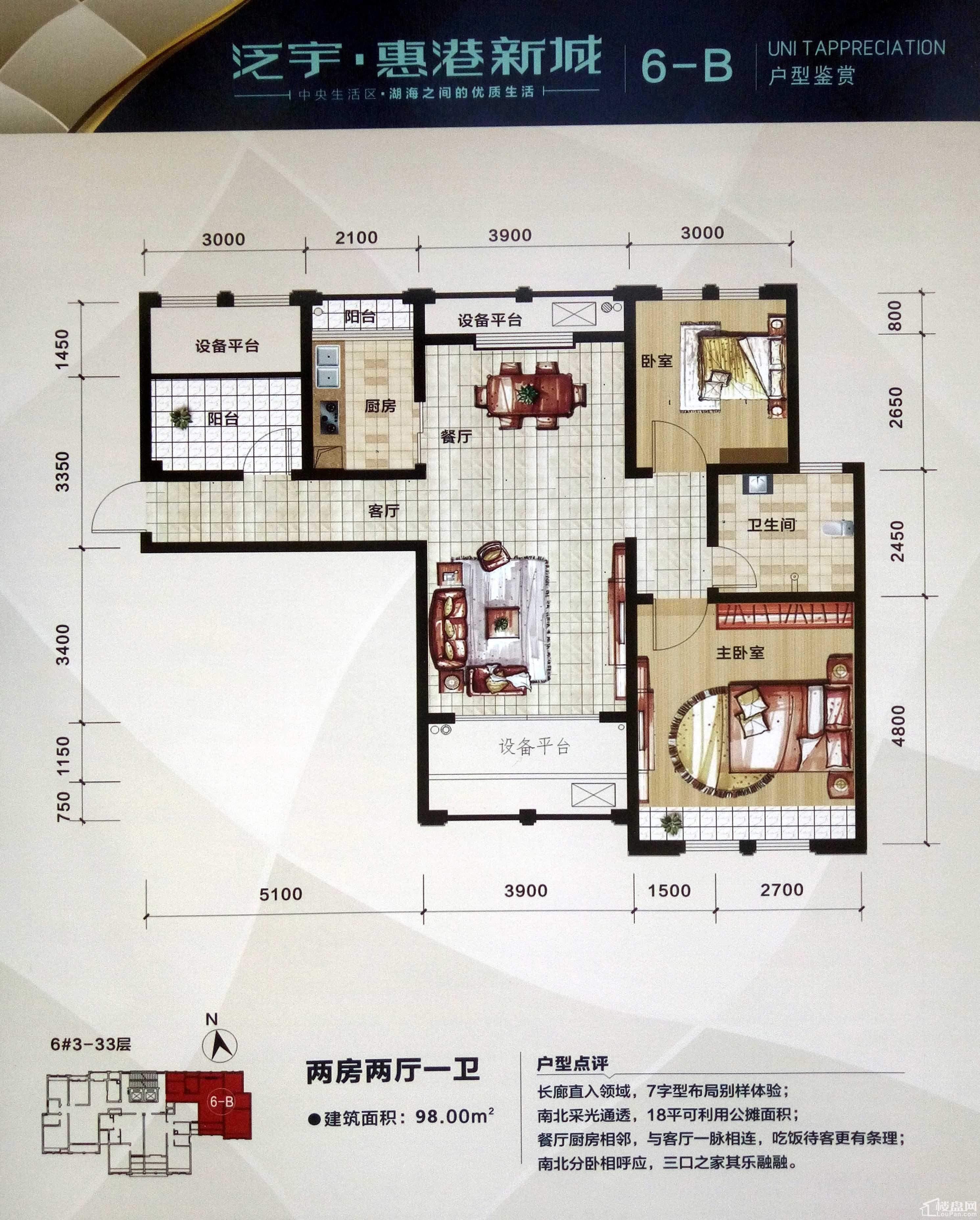 泛宇·惠港新城6-B户型.