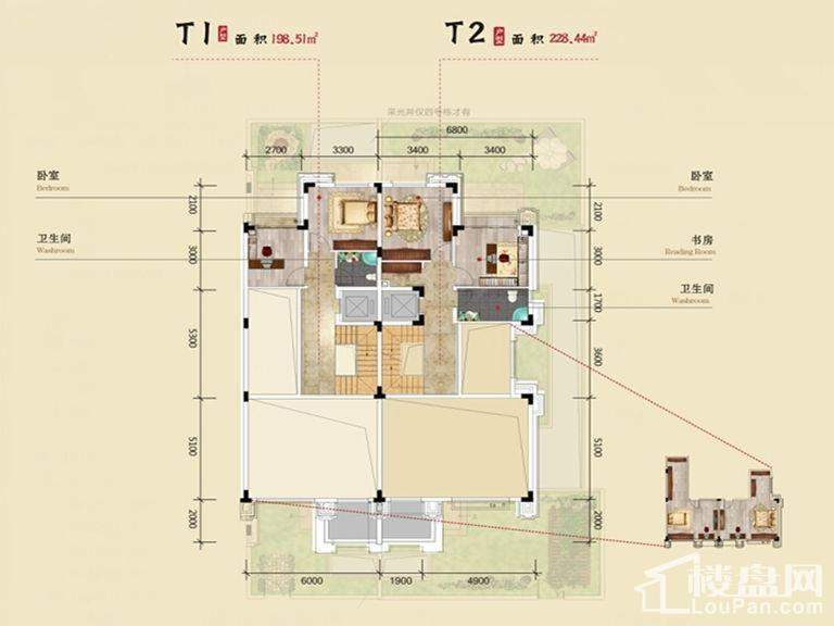 北大资源时光 T1T2联排二层户型