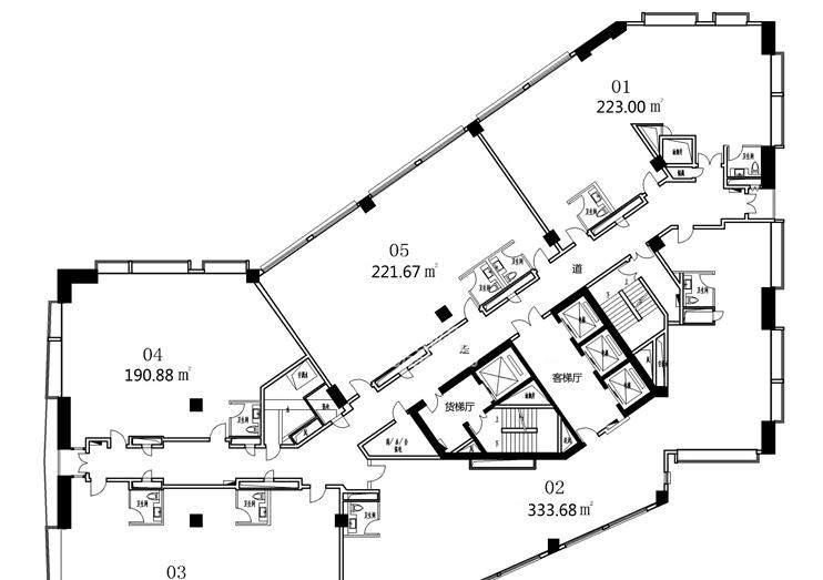 香港名都写字楼8-18层标准层平面图
