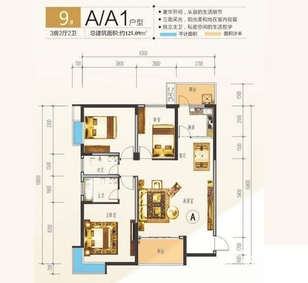 中央海洋公园9#楼A、A1户型
