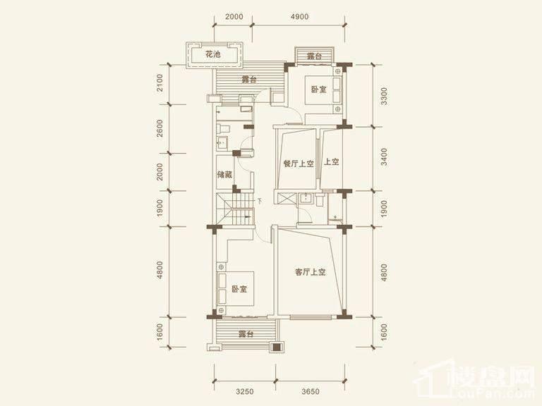 五矿沁园金城3-14栋叠墅B2户型地上四层