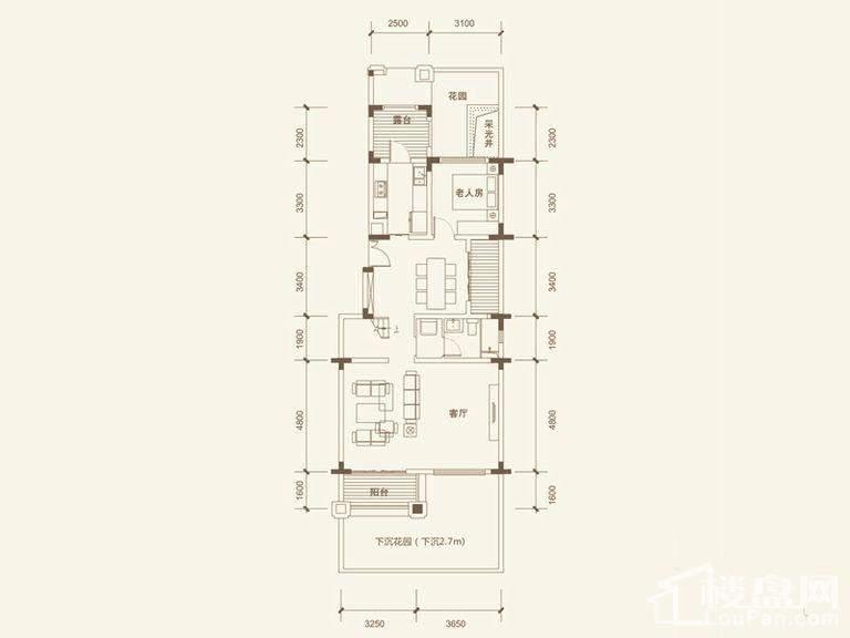 五矿沁园金城3-14栋叠墅A2户型地上首层