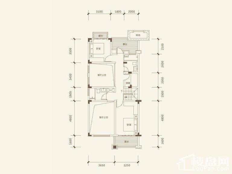 五矿沁园金城3-14栋叠墅B1户型地上四层