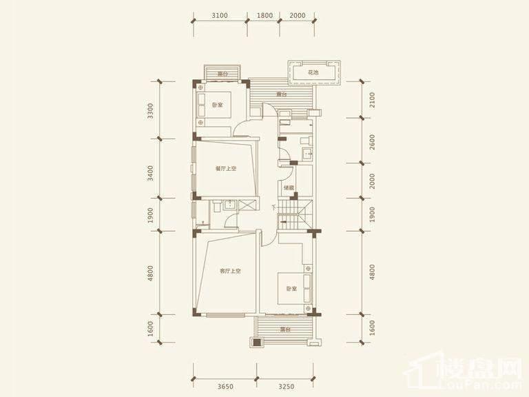 五矿沁园金城3-14栋叠墅B1户型地上三层