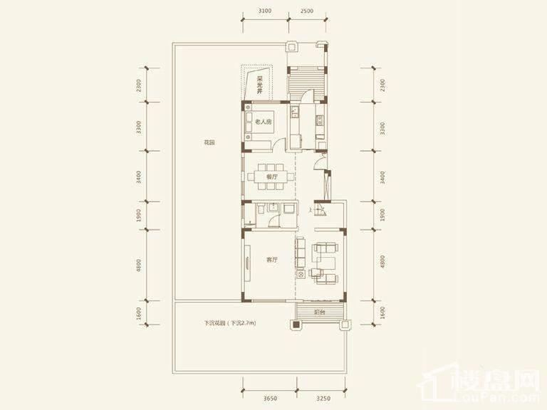 五矿沁园金城 3-14栋叠墅A1户型地上首层