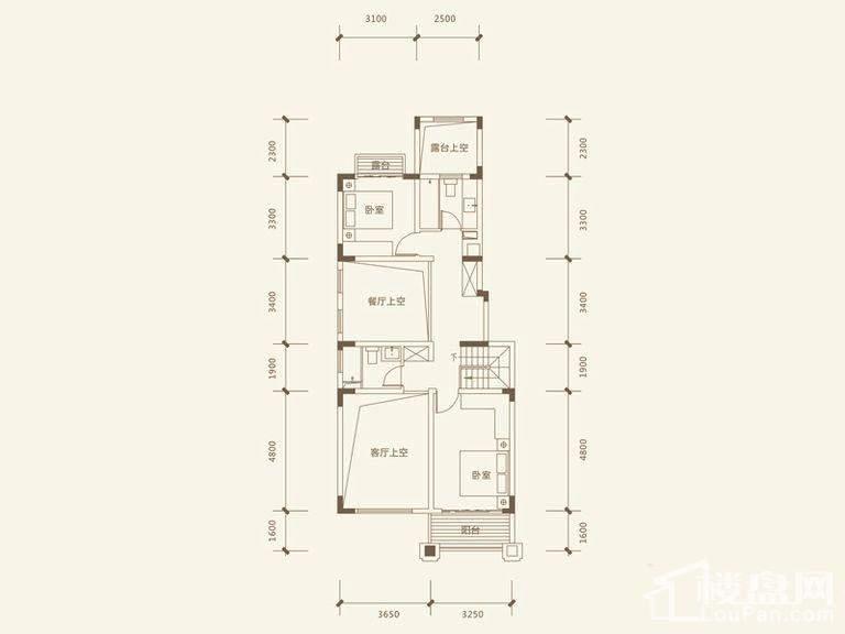 五矿沁园金城3-14栋叠墅A1户型地上二层