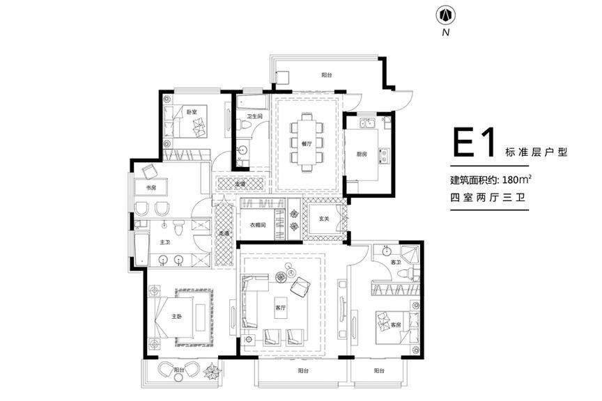 花园洋房E1标准层户型