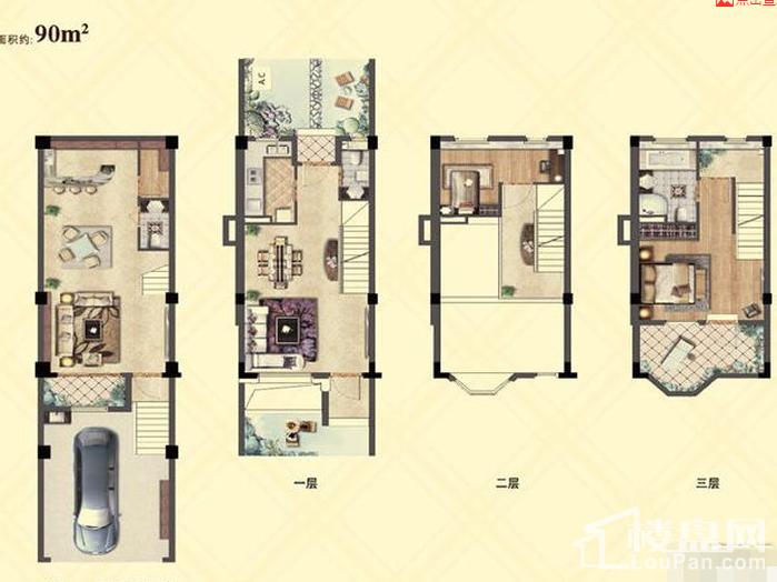 90平联排、224-228平联排、280-320平独栋别墅,均价30000元/平