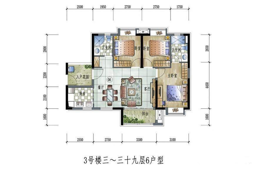 3号楼3-39层6户型