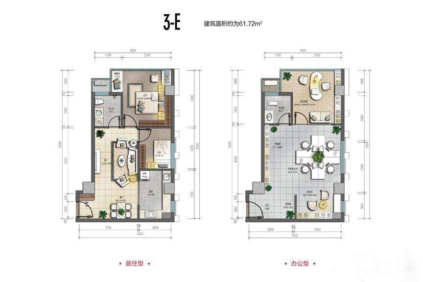裕天国际商汇中心3-E户型图