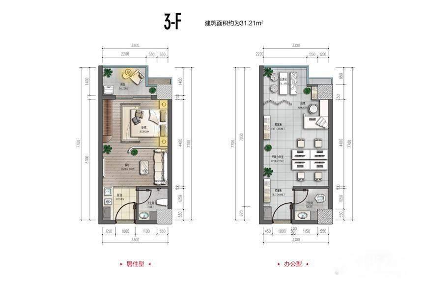 裕天国际商汇中心3-F户型图