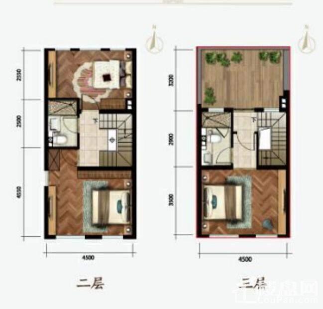 别墅户型二、三层