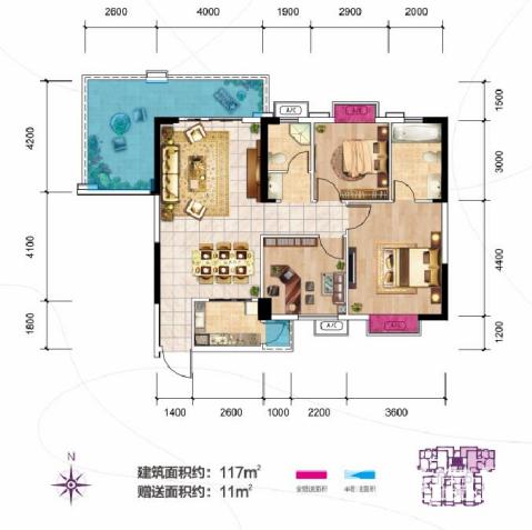 新长海尚海城A1 3+1户型