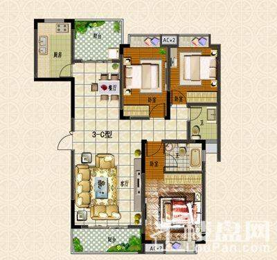 户型图 3#楼C户型