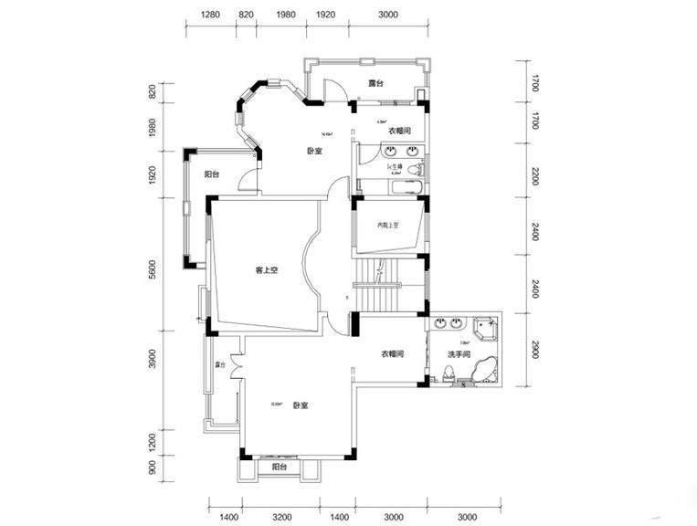 金色溪泉湾E9栋-C1次户型二层