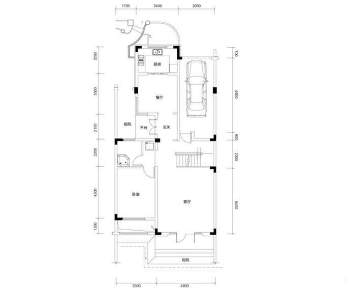 金色溪泉湾 E12栋-C2b户型一层