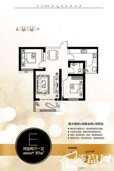 5号楼87平E户型