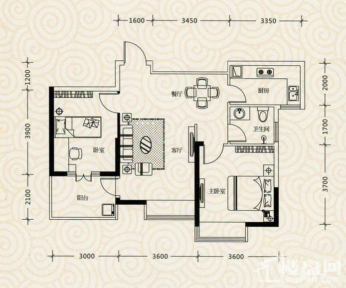 凯乐国际城 10号栋K2户型图