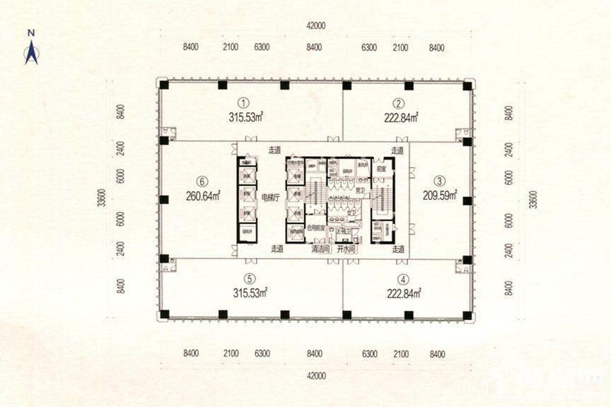 柏宁地王广场 A座5-22层平面图