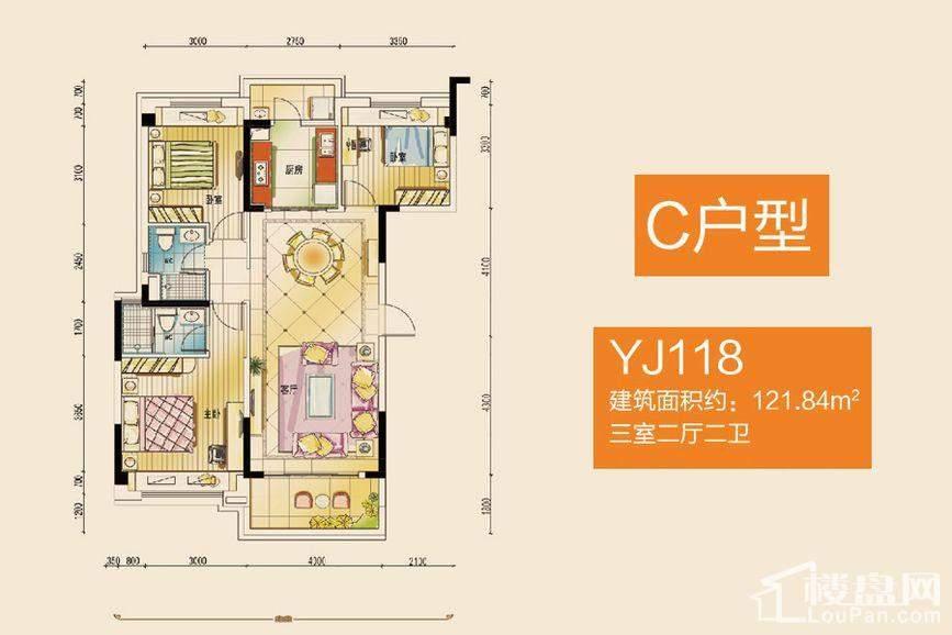 碧桂园公园壹号 YJ118C户型