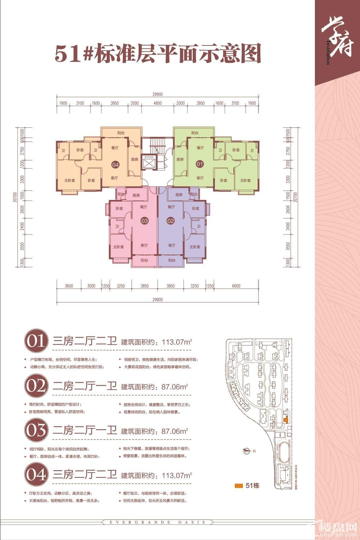 南宁恒大绿洲3期51#标准层平面图