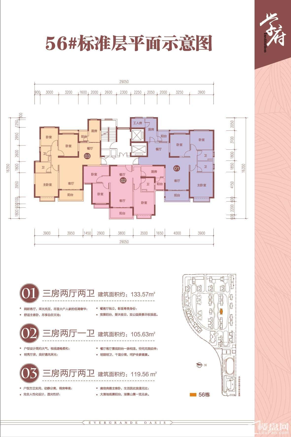南宁恒大绿洲3期56#标准层平面图