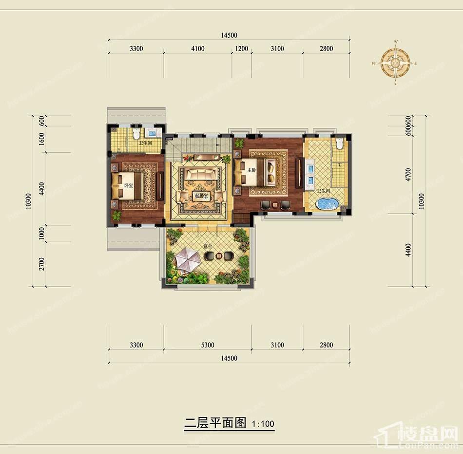 龙王溪玫瑰园独栋二层平面图