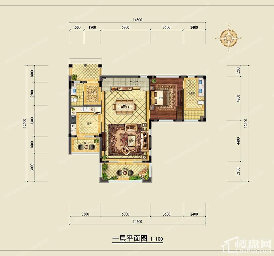 绿城龙王溪玫瑰园独栋一层平面图