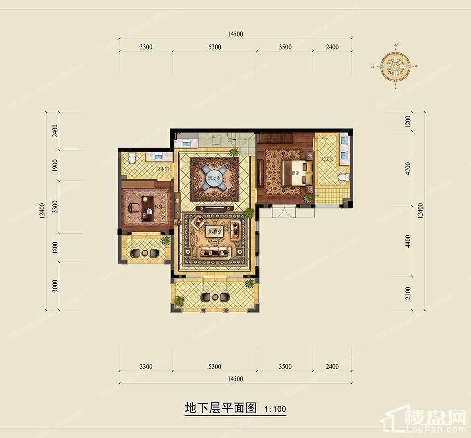 绿城龙王溪玫瑰园负一层平面图