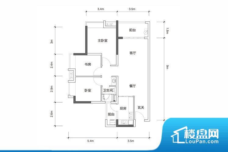 各个空间方正,后期空间利用率高。全明户型,每一个空间都带有窗户,保证后期居住时能够充分采光和透气;通透户型,保证空气能够流通起来,空气质量较好;采光较好,保证居住舒适度。整个户型空间布局合理,真正做到了干湿分离、动静分离,方便后期生活。客厅、卧室、卫生间和厨房等主要功能间尺寸以及比例合适,方便采光、通风,后期居住方便。