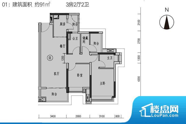 各个空间方正,后期空间利用率高。整个空间采光很好,主卧和客厅均能够保证很好的采光;并且能真正做到全明通透,整个空间空气好。厨卫等重要的使用较为频繁的空间布局合理,方便使用,并且能够保证整个空间的空气质量。其他卧室面宽不合理,房间采光不足,居住起来舒适度较低。