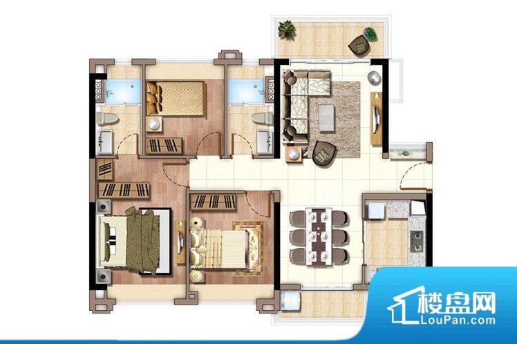 整个空间方正,拐角少,后期利用难度低,提升整个空间的利用率。全明通透的户型,居住舒适度较高。整个空间有充足的采光,这一点对于后期居住,尤其重要。卧室位置合理,能够保证足够安静,客厅的声音不会影响卧室的休息;卫生间位置合理,使用起来动线比较合理;厨房位于门口,方便使用和油烟的排出。客厅、卧室、卫生间和厨房等主要功能间尺寸以及比例合适,方便采光、通风,后期居住方便。