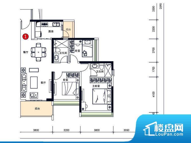 次重要空间不够方正,家具不好摆放,而且容易浪费空间。全明通透的户型,居住舒适度较高。整个空间有充足的采光,这一点对于后期居住,尤其重要。卧室位置合理,能够保证足够安静,客厅的声音不会影响卧室的休息;卫生间位置合理,使用起来动线比较合理;厨房位于门口,方便使用和油烟的排出。各个功能区间面积大小都比较合理,后期使用起来比较方便,居住舒适度高。