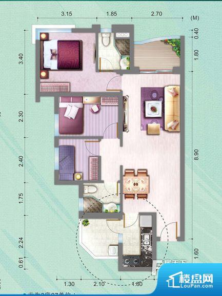 整个空间方正,拐角少,后期利用难度低,提升整个空间的利用率。全明通透的户型,居住舒适度较高。整个空间有充足的采光,这一点对于后期居住,尤其重要。卧室门朝向客厅,外人可以一目了然的看到卧室,私密性较差。卧室作为较为重要的休息空间,尺寸合适,有利于主人更好的休息;客厅作为重要的会客空间,尺寸合适,能够保证主人会客需求。卫生间和厨房作为重要的功能区间,尺寸合适,能够很好的满足主人生活需求。